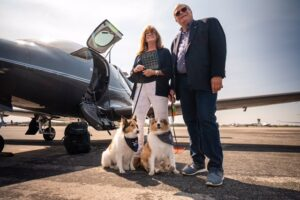 Verijet Gene and Maureen Valentino with their two dogs and Verijet